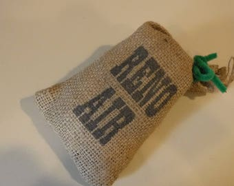 """Reno Air snack size burlap bags 7.5 x 4"""" from airline, brown, set of 2"""