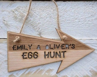 Personalised Easter Egg Hunt Arrow (two tone)