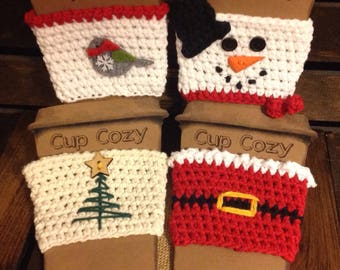 Crochet Holiday-Winter-Christmas Cup Cozy