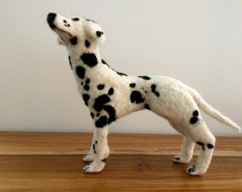 Needle felted Dalmatian, hand made in the UK using natural sheep's wool.