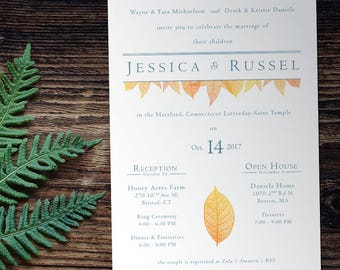 Leaf Wedding Invitation with Picture, Envelopes Included (lds temple wedding, customizable)