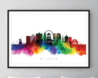 Horizonte de St. Louis, impresión del arte de paisaje urbano de St. Louis Missouri, arte de la pared, acuarela, acuarela arte decoración