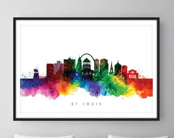 St Louis Skyline, St Louis Missouri Cityscape Art Print, Wall Art, Watercolor, Watercolour Art Decor