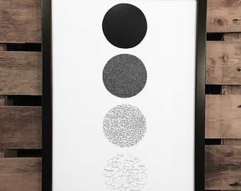 White Space 7, A3 Art Print, Hand Drawn, Original Art