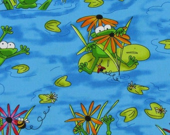 Fabric by the yard, cotton fabric, sewing fabric, quilting fabric, frog fabric, nursery fabric, summer fabric, apparel fabric, green blue