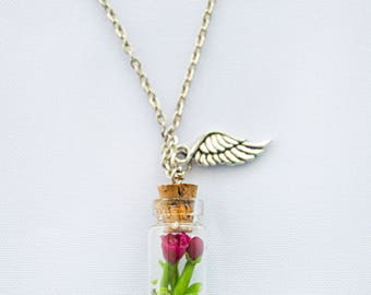 Glass Bottle Pendant, Necklace Peony.