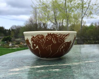 Running horses cereal/soup bowl
