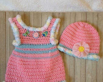 Crochet Newborn sundress, baby clothes, Summer dress with attached diaper cover and matching hat, baby girl clothes