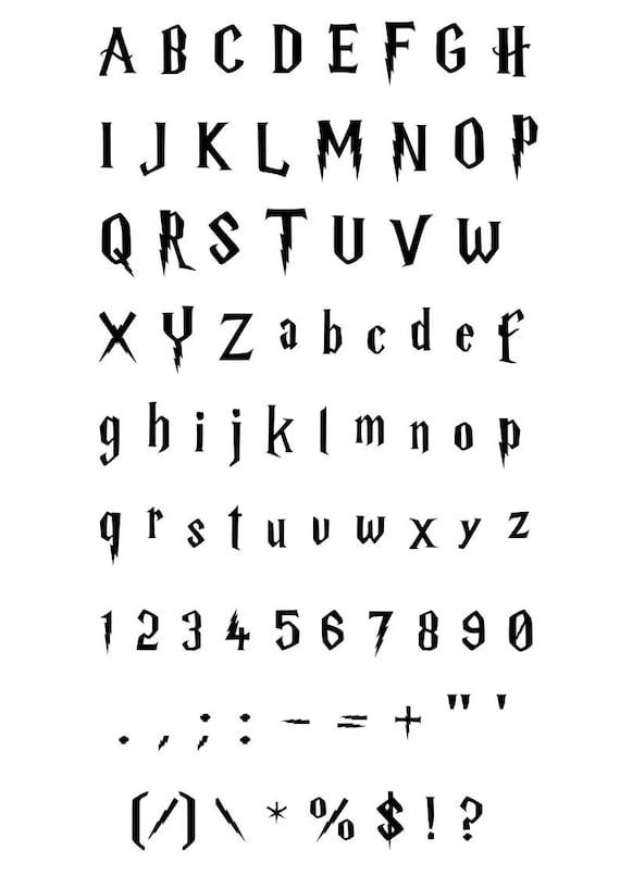 Harry potter font svg alphabet