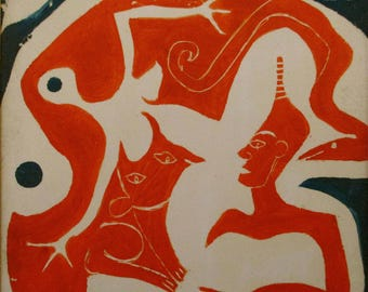 Art modern art tile painting 'The creature and I 'by Alfred Halliday Art