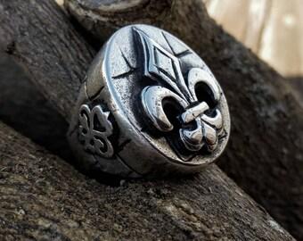 silver ring for men, large, with Fleur de lys