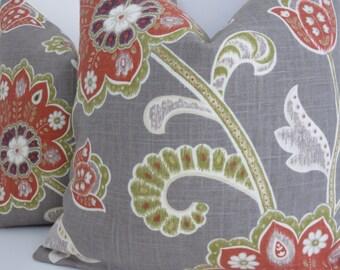 Braemore Fabrics- Grey Green  Pillow Covers- Accent Pillows - Grey Red Accent Pillows- Ankara Grey Green Red Pillows- Jacobean fabrics