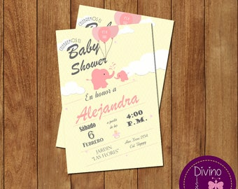Invitation pink elephant baby shower/welcome girl