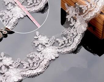 White Lace Trim, White Alencon Lace, White Corded Lace Trim, White Bridal Lace Trim, Sell By Yard