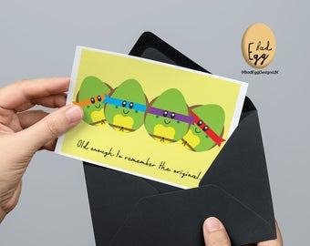 """BadEgg """"Heroes in an Egg Shell"""" - Teenage Mutant Ninja Turtles TMNT Inspired TV Greetings Card by Bad Egg Designs UK"""