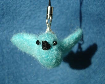 Needle felted cyan dove plush keychain