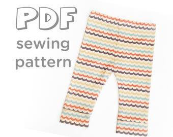 Baby Leggings PDF Pattern, Pattern comes w/ 2 Hem Options, 9 sizes: Newborn-5T. Print from home!