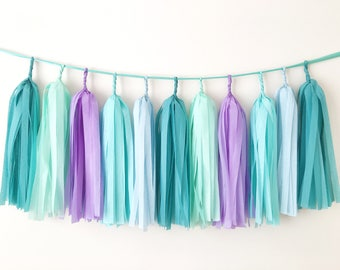 Mermaid Tissue Tassel Garland Mint Purple Blue Balloon Tassel Birthday Baby Shower Banner Cake Smash Backdrop Under The Sea Party Decoration