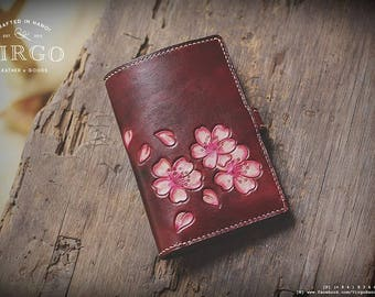 Pink blossom hand tooled carved small wallet