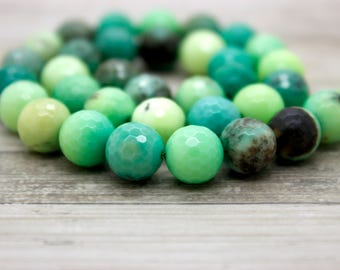 Green Moss Agate Faceted Round Beads Natural Gemstone (4mm 6mm 8mm 10mm 12mm)