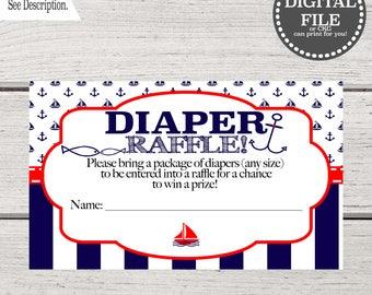 Baby Shower Invitation Boy Diaper Raffle   Nautical Baby Shower   Ahoy It's a Boy Invitation   Diaper Raffle Nautical Printable