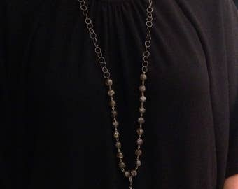 Beaded Chain Necklace with Pendant