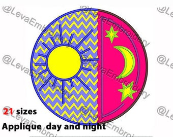 Day and night  Applique Design. Machine embroidery design. 21 sizes. Day and night  embroidery design.  Machine embroidery.