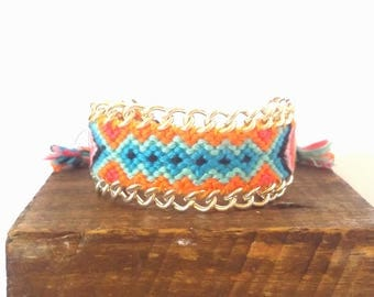 Mexican Orange macrame bracelet
