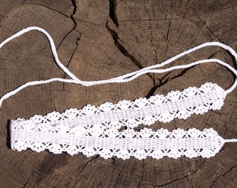 100% cotton white crochet belt with beads