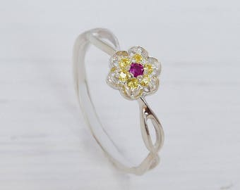 Dainty ring, Flower ring, Ruby ring, Citrine ring, Promise ring, Minimalist ring, Delicate ring, Everyday ring, Ruby jewelry,Citrine jewelry
