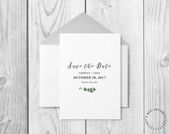 Minimalistic Wedding Save The Date, Modern Calligraphy Save The Date Template, Printable Calligraphy Save The Date, Customizable