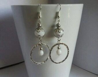 White hoop dangly earrings