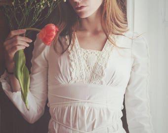 White maxi dress from Gunne Sax