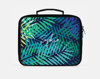 Tropical Lunch Box, Palm Leaf Lunch Box, Blue Lunch Box, Personalized Lunch Box, Palm Lunch Box, Green Lunch Box, Tumblr Aesthetic, Cute Box