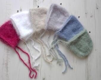Knitted Baby bonnet/Fluffy newborn baby bonnet/hand knitted bonnet/Newborn bonnet/Fotography prop/Newborn fluff bonnet/Knit newborn bonnet