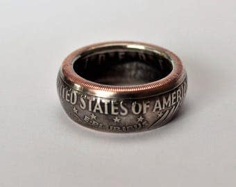 Eisenhower Hand Crafted Silver Dollar Coin Ring