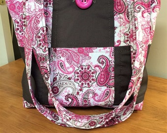 Pink and Brown Paisley Quilted Handbag