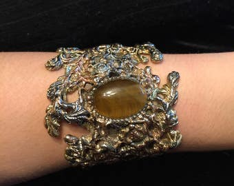 Brass, copper and fine silver cuff bracelet with tiger's eye stone