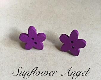 Cute boho hippy, natural wood heart stud or clip on  earrings.