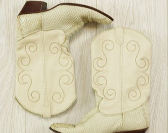 Vintage Cream Leather Snakeskin Western Cowboy Boots