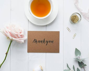 Wedding Thank You Card - Handwritten Calligraphy Wedding Card - Custom Thank You Card - Custom Handwritten Card - Kraft C6 Scored Cards