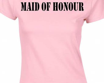 maid of honour,hen party t-shirt,names can be personalised free of charge
