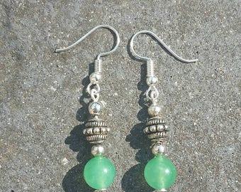 Green jade and tibetan silver earrings