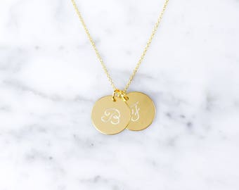 Double initial chain gold plated silver of 925 with cursive script