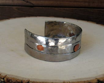 Folder Stainless Steel Cuff with Rivets