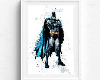 Batman print, batman poster, batman wall art, batman watercolor, batman wall decor, superhero print, boys nursery print, batman painting