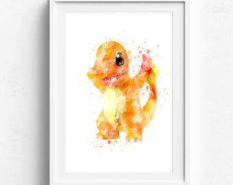 Charmander, pokemon charmander, charmander print, charmander poster, pokemon watercolor, pikachu art, pikachu prints, pokemon go, wall art