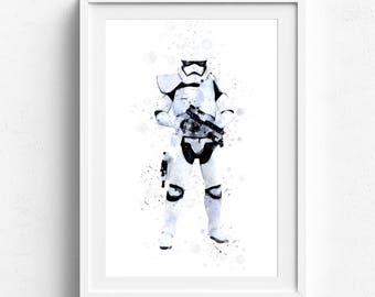 Storm Trooper Shooting Star Wars Decor, Galactic Empire Stormtrooper Blaster, Star Wars Watercolor Sci Fi Art, Starwars Wall Art Movie Print
