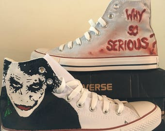 Custom Joker Converse tennis shoe, hand painted