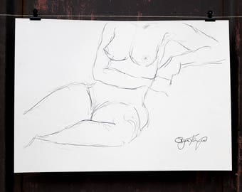"""Original Act of drawing """"Seated woman"""" nude art / graphite"""